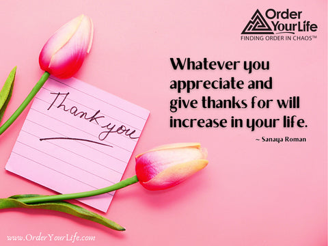 Whatever you appreciate and give thanks for will increase in your life. ~ Sanaya Roman