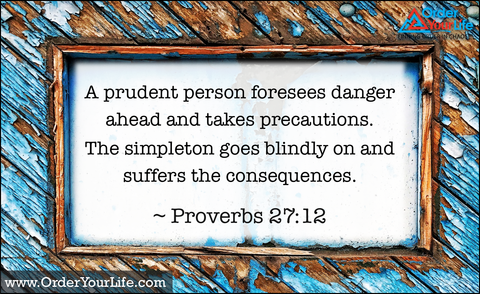 A prudent person foresees danger ahead and takes precautions. The simpleton goes blindly on and suffers the consequences. ~ Proverbs 27:12