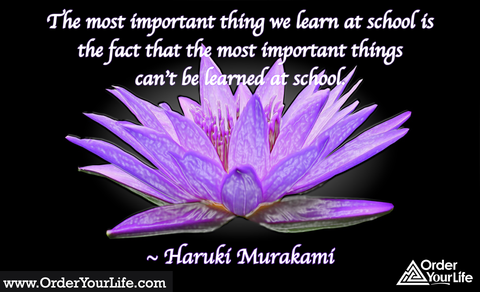 The most important thing we learn at school is the fact that the most important things can't be learned at school. ~ Haruki Murakami