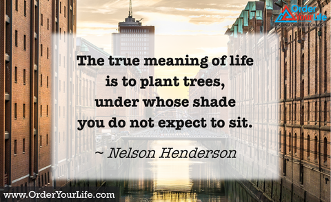 The true meaning of life is to plant trees, under whose shade you do not expect to sit. ~ Nelson Henderson