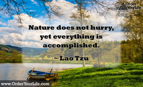 Nature does not hurry, yet everything is accomplished. ~ Lao Tzu
