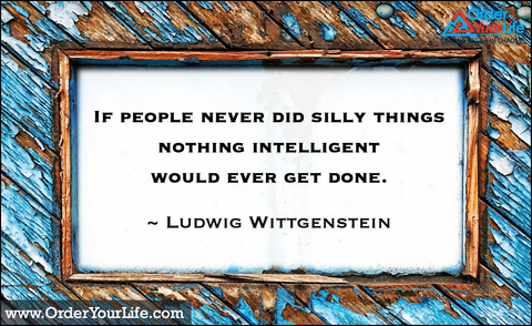 If people never did silly things nothing intelligent would ever get done. ~ Ludwig Wittgenstein