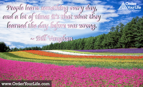 People learn something every day, and a lot of times it's that what they learned the day before was wrong. ~ Bill Vaughan