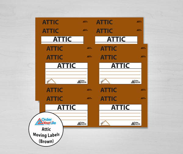 Attic Moving Labels (Brown)