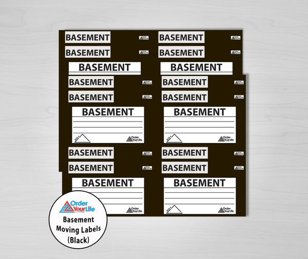 Basement Moving Labels (Black)