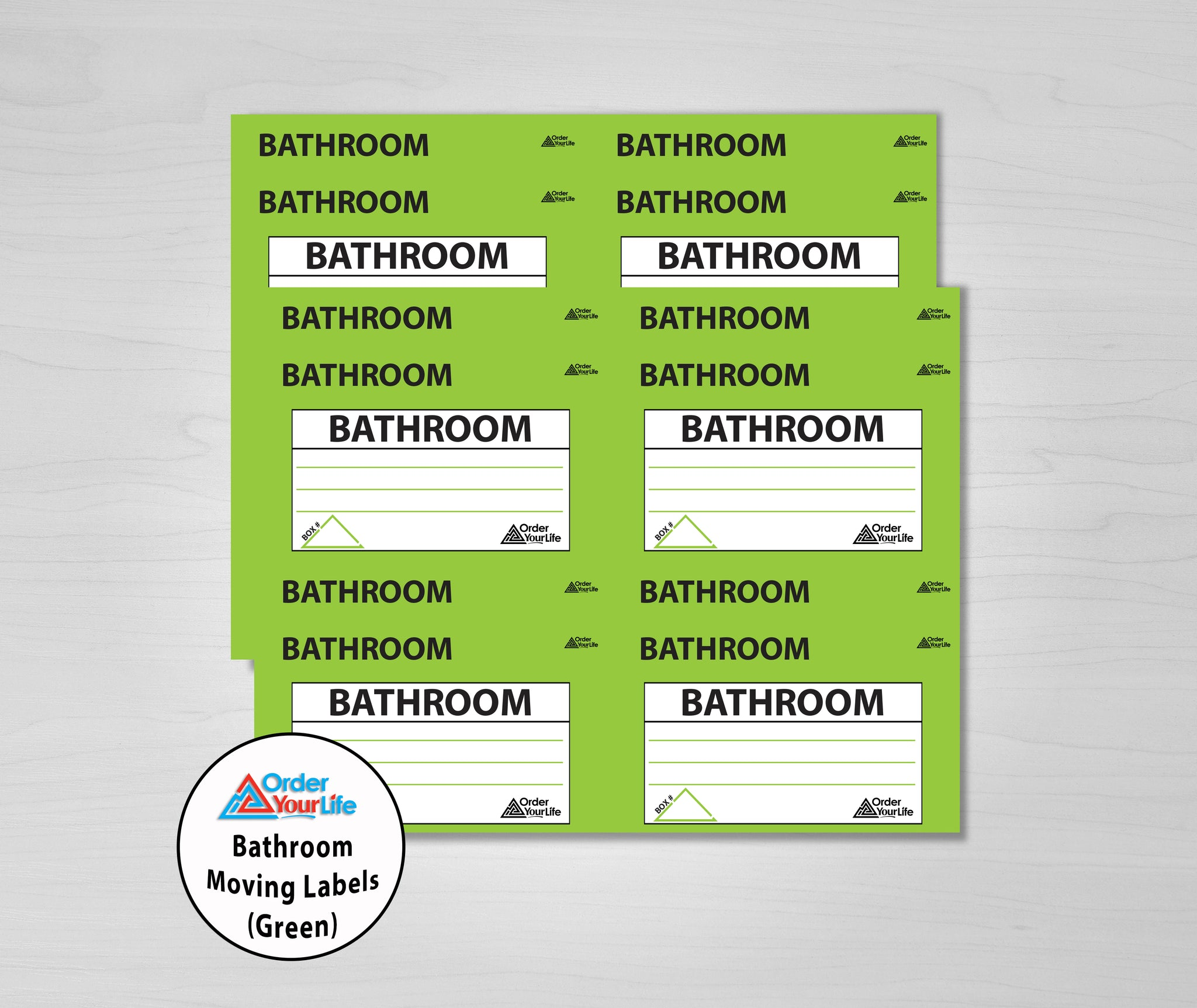 Bathroom Moving Labels (Green)