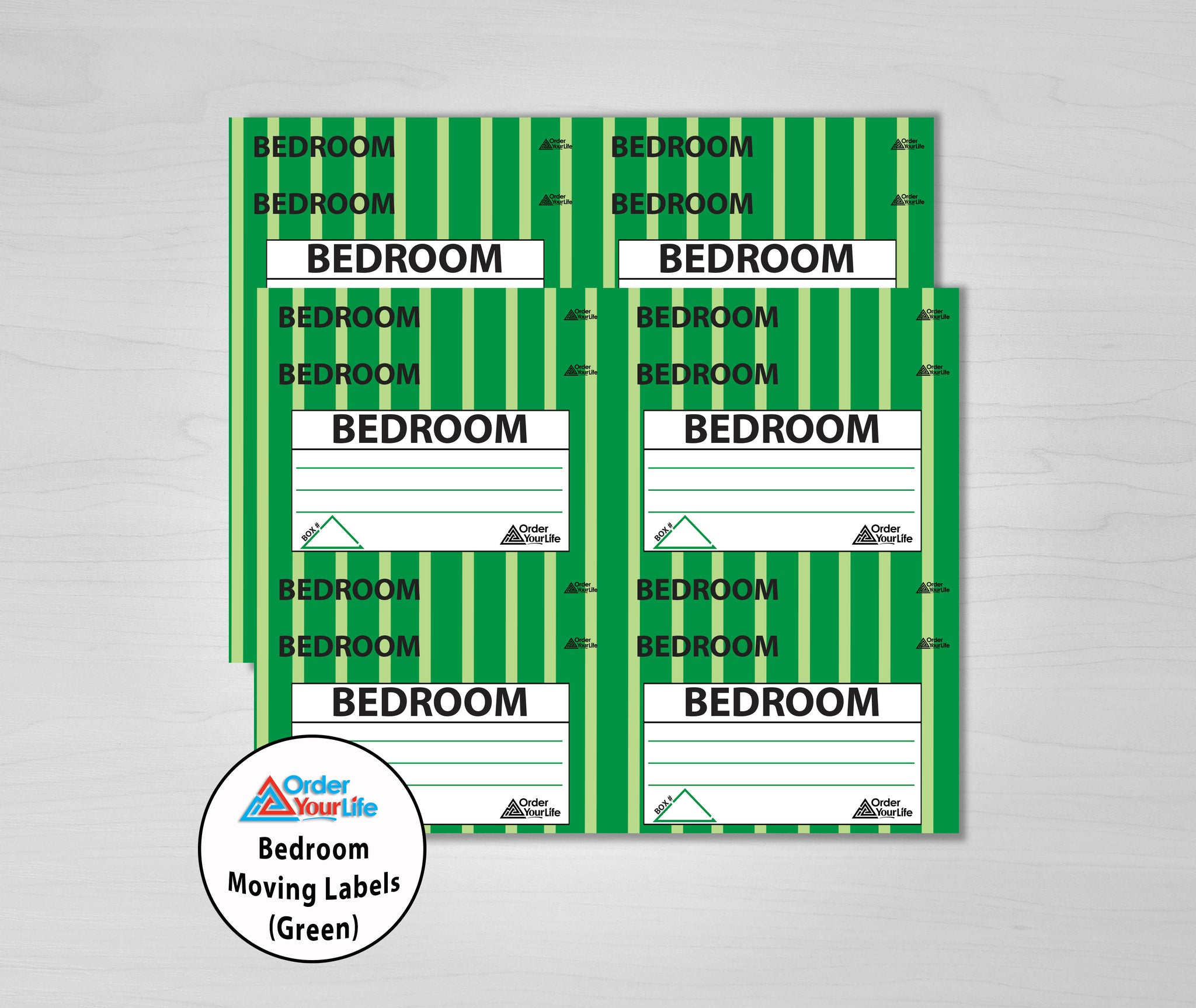 Bedroom Moving Labels (Green)
