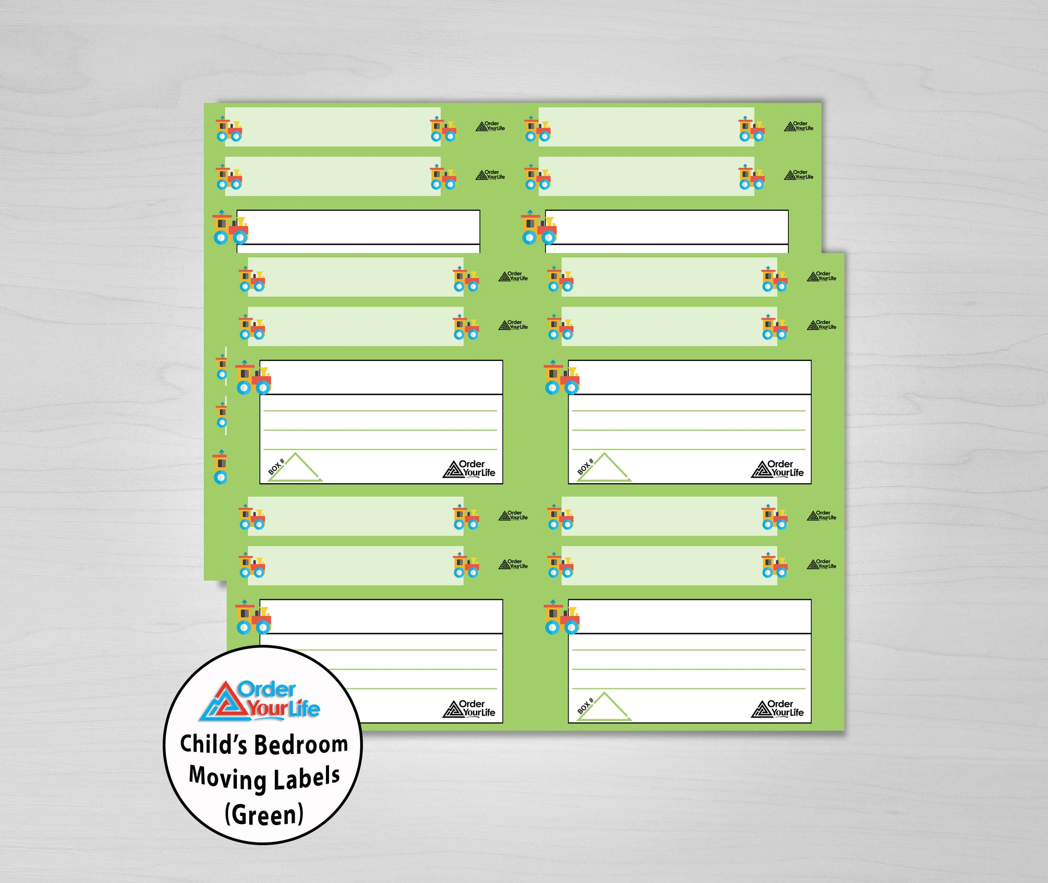 Child's Room Moving Labels (Green)