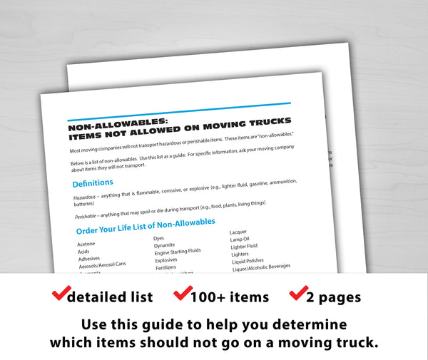 Non-Allowables: Items Not Allowed on Moving Trucks (Free)
