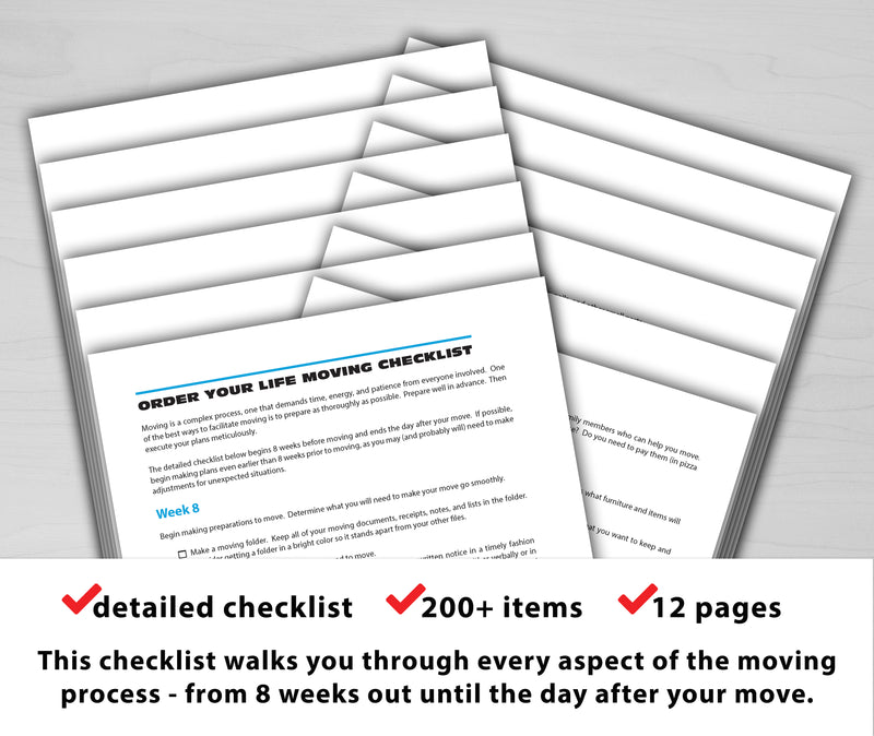Moving Checklist Order Your Life
