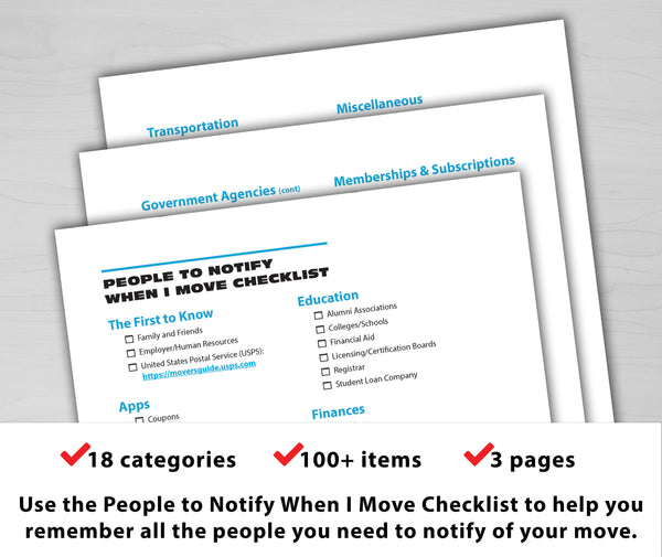 People to Notify When I Move Checklist