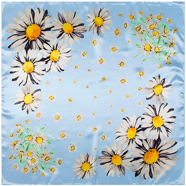 GERINLY Daisy Print Shiny Scarf Headwrap