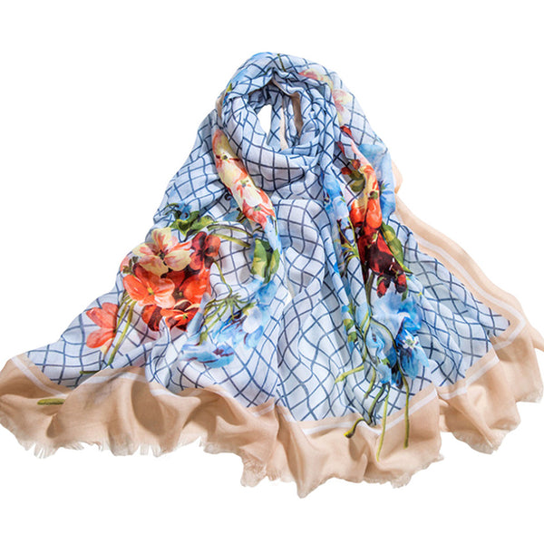 GERINLY Grid Flowers Rural Style Scarf