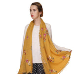 GERINLY Embroidered Flowers Ball Tassel Scarf