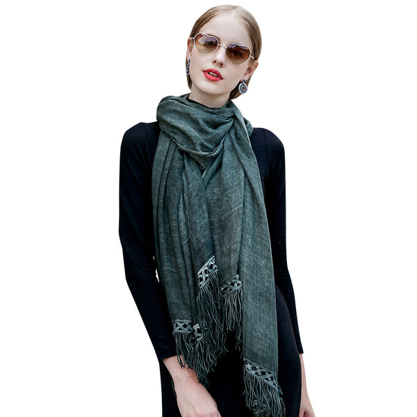GERINLY Tassel Pure Scarf