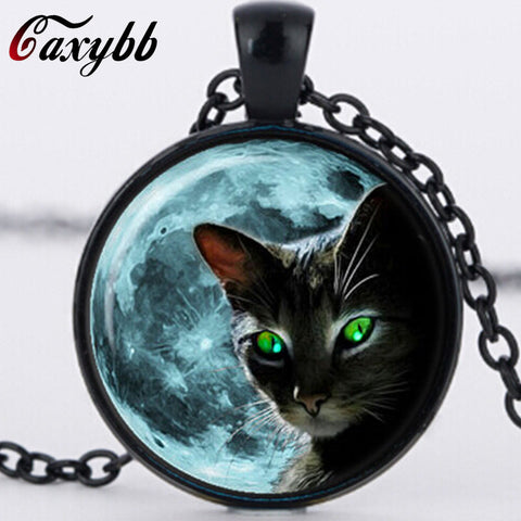 Blue Moon Black Cat Glass Necklace for women Silver Chain