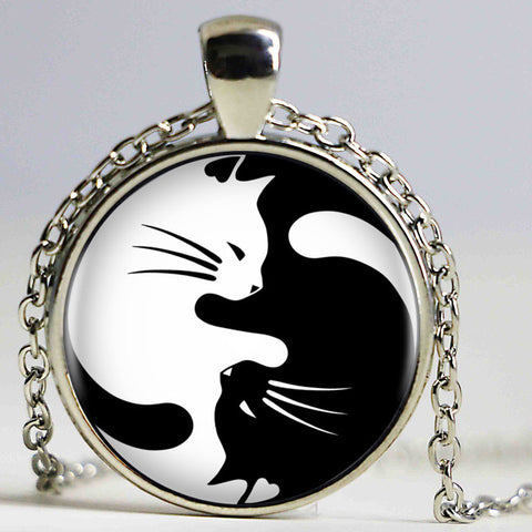 Vintage Two Yin Yang Cats Necklace Pendant