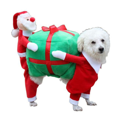 NEW Lovely Santa Claus Carry Gift Pet Clothes. Dog Coats & Jackets GreatmyPet L