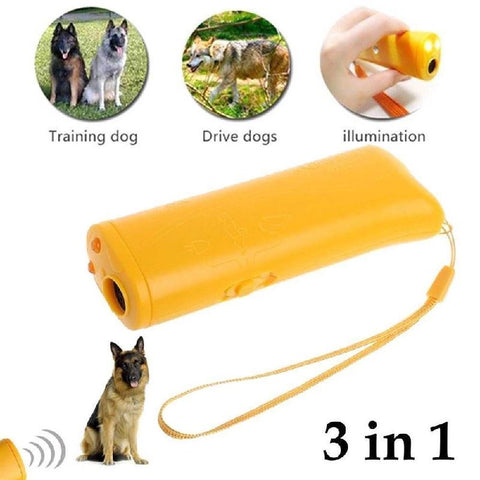 3 in 1 Ultrasound Dog Training Device. Dog Accessories GreatmyPet Yellow
