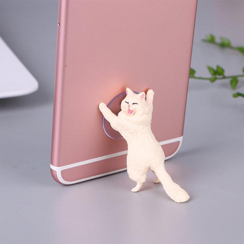 Universal Phone Holder Cute Cat for Cat Lovers. Mobile Phone Holders & Stands GreatmyPet White