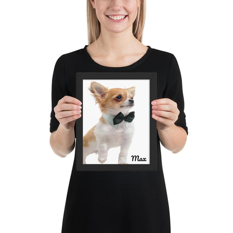 Max- Dog Framed poster GreatmyPet Black 8×10