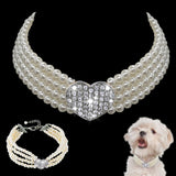 Choker Style Rhinestone Pearl Collar For Pet Pet Necklace GreatmyPet