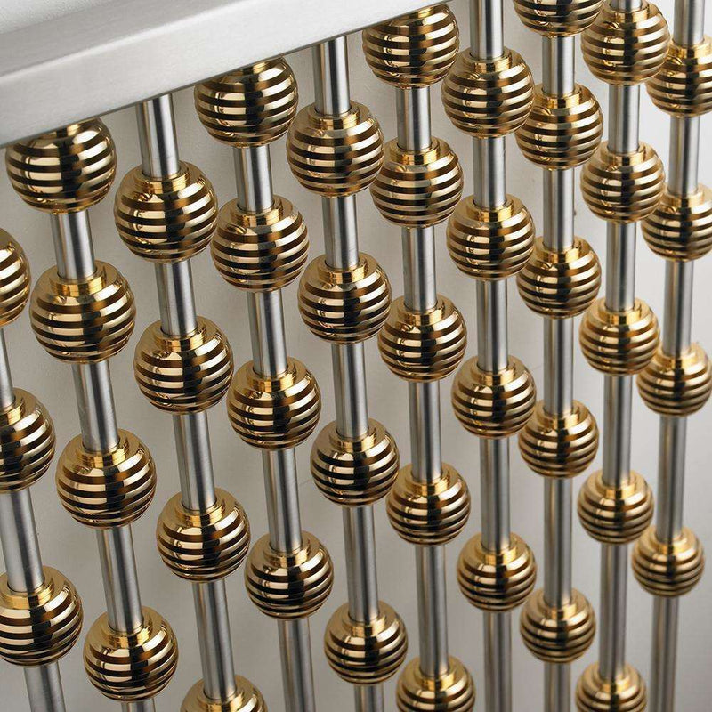 Aeon Abacus Stainless Steel Designer Radiator, Brushed Matt - AB1070-SG | 950mm x 460mm | Gold Globes | MADE TO ORDER
