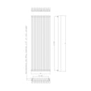 Eucotherm Atlas Vertical Panel Square Tube Designer Radiator, White - 1800mm x 530mm