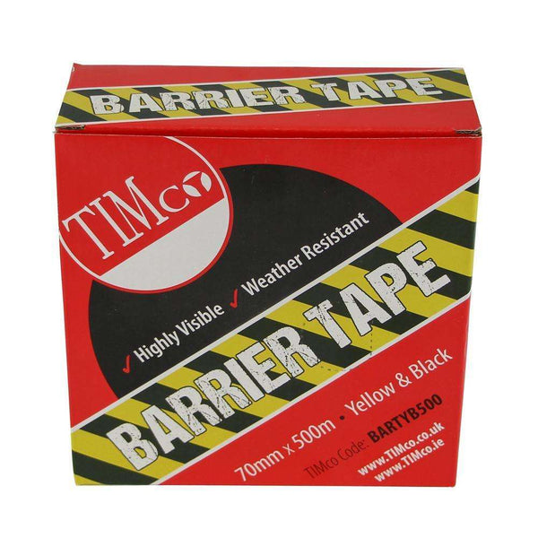 Timco PE Barrier Tape - Yellow/Black - 500m x 70mm
