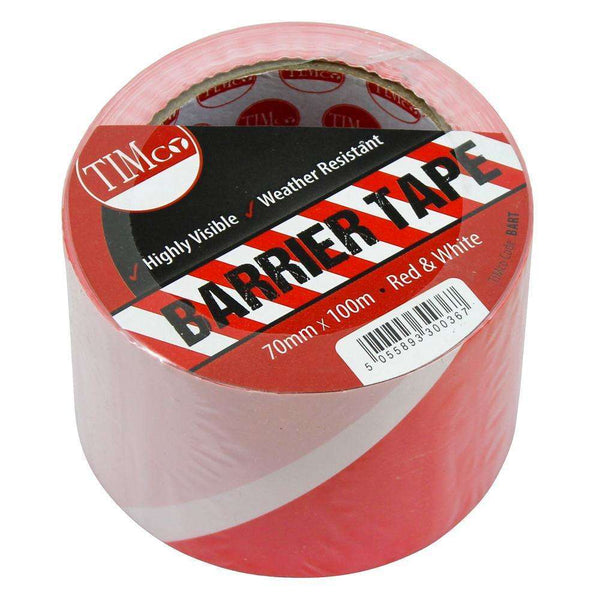 Timco PE Barrier Tape - Red/White - 100m x 70mm