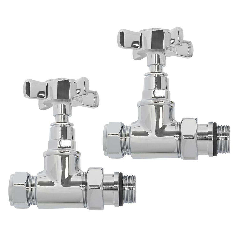 Ultraheat BCH851C Blade Cross-Head Manual Straight Radiator Valve and Lockshield Pack, Chrome