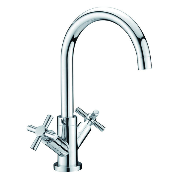 Prima+ Dual Handle Swan Neck Quarter Turn Chrome Mixer Tap | BPR2152