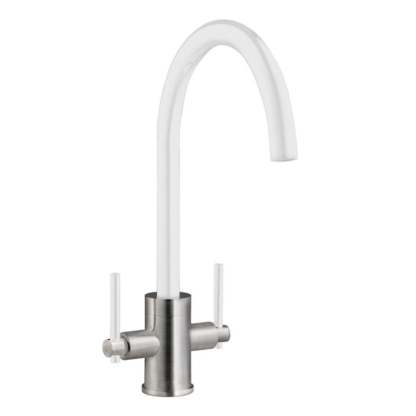 Prima+ Dual Lever Mixer Tap White Brushed Steel