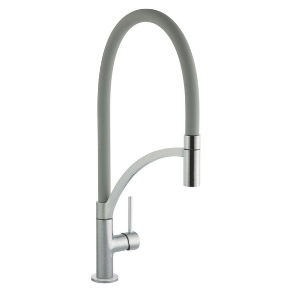 Prima+ Single Lever Pull Out Grey Brushed Steel Mixer Tap | BPR711