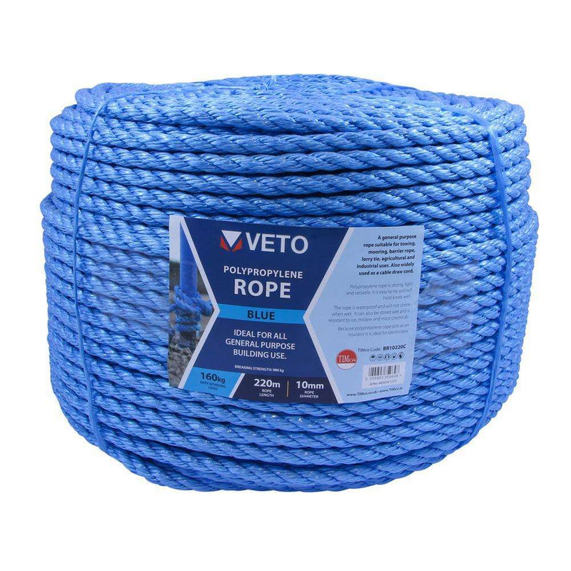 Timco Blue Poly Rope Long - Coil - 10mm x 220m