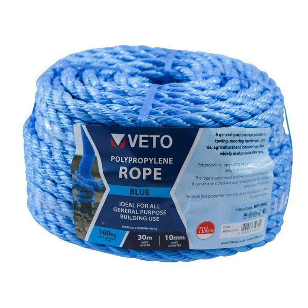 Timco Blue Poly Rope - Coil - 6mm x 30m