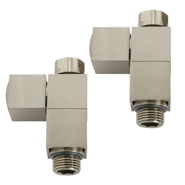 Aeon CUH851S Cubic-30 Manual Straight Radiator Valve and Lockshield Pack, Brushed Matt