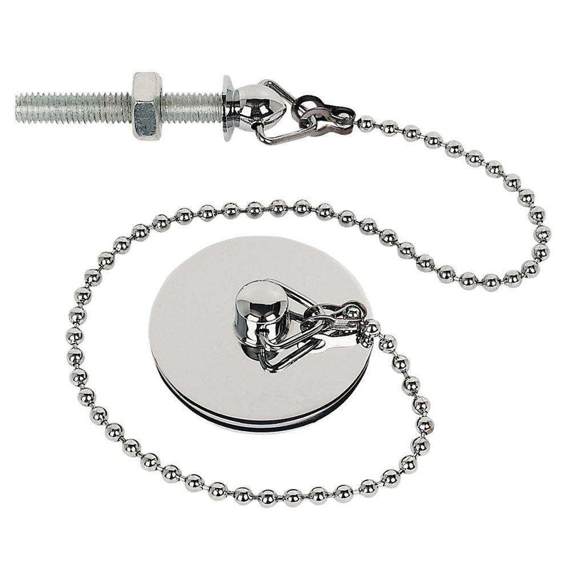 "Basin Plug with 12"" Ball Chain, Triangle & Stay, Chrome (Fits 1 1/4"" Waste)"