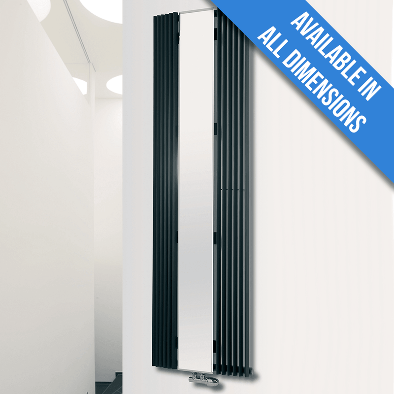 Eucotherm Corus Mirror Curved Vertical Tube Designer Radiator, Anthracite - 1800mm x 600mm