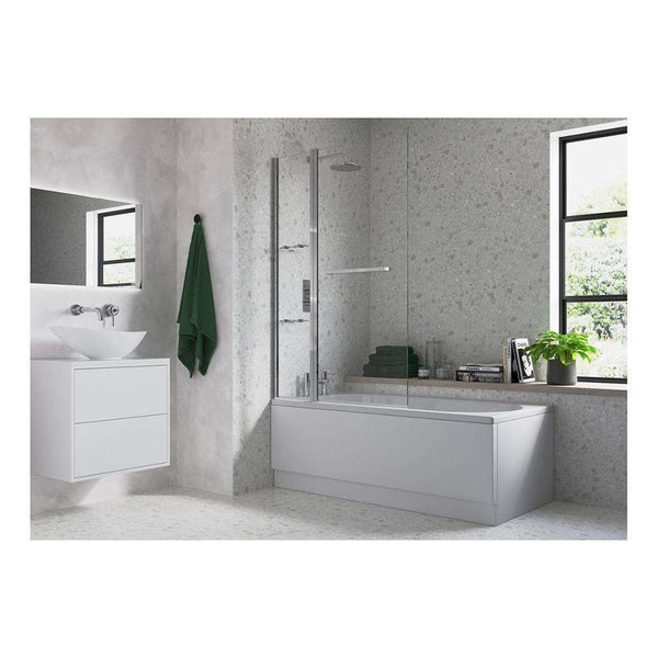 Two Panel Folding Bath Screen with Rail & Shelves 1000mm x 1500mm