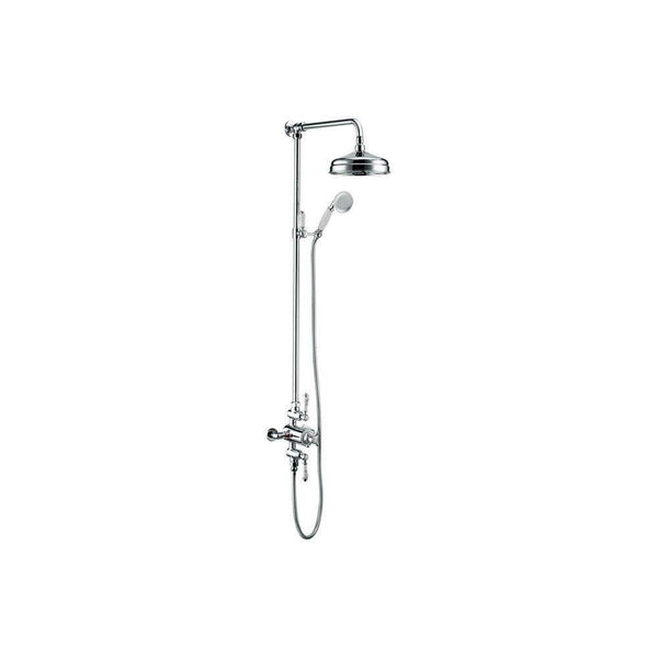 Traditional Exposed Twin Outlet Shower with Shower Head & Riser Kit