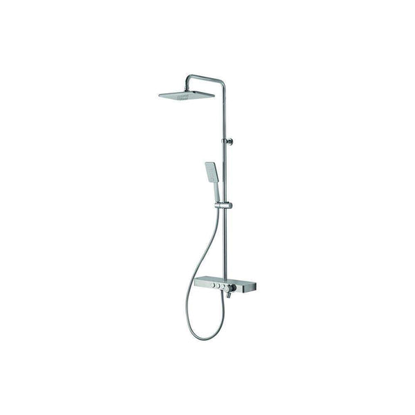 Vema Bar Shower with Integrated Shelf, White/Chrome