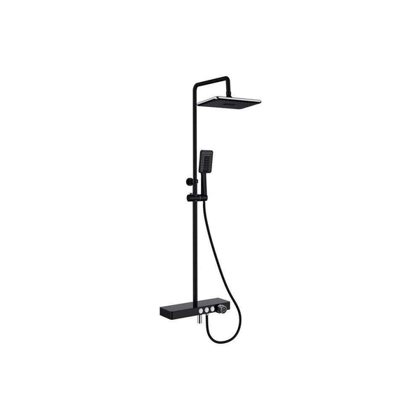Vema Bar Shower with Integrated Shelf, Matt Black