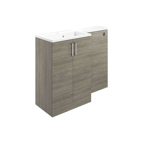 Volta 1100mm Vanity, Basin & WC Pack (LH), Grey Nordic Wood