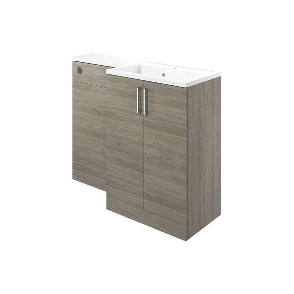 Volta 1100mm Vanity, Basin & WC Pack (RH), Grey Nordic Wood