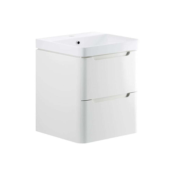 Lambra 600mm 2 Drawer Wall Hung Vanity Unit, White Gloss