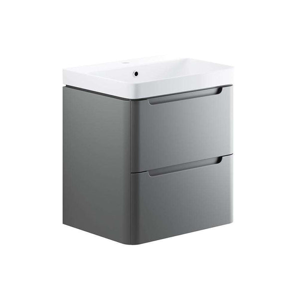 Lambra 600mm 2 Drawer Wall Hung Vanity Unit, Matt Grey