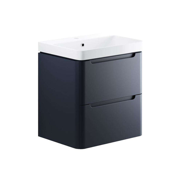 Lambra 600mm 2 Drawer Wall Hung Vanity Unit, Matt Indigo