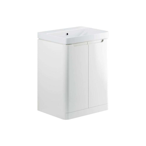 Lambra 600mm 2 Door Floor Standing Vanity Unit, White Gloss
