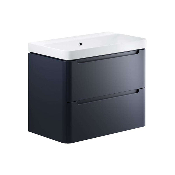 Lambra 800mm 2 Drawer Wall Hung Vanity Unit, Matt Indigo